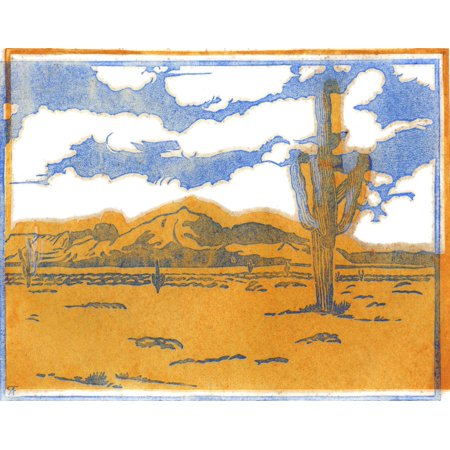 Woodblock print by Frank Redlinger who was known for graphic art primarily focused on the West  Born in Missouri on Dec 25 1885  After 1931 Redlinger had studios in Abilene TX and Los Angeles  He died