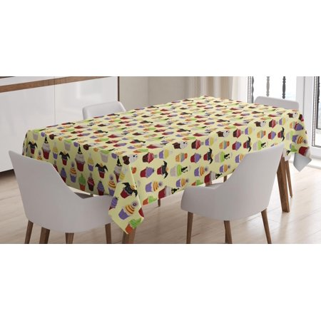 Cupcake Tablecloth, Halloween Themed Delicious Scary with Cat Bat Ghost Frosting Holiday Season Cakes, Rectangular Table Cover for Dining Room Kitchen, 60 X 90 Inches, Multicolor, by - Halloween Scary Cupcakes