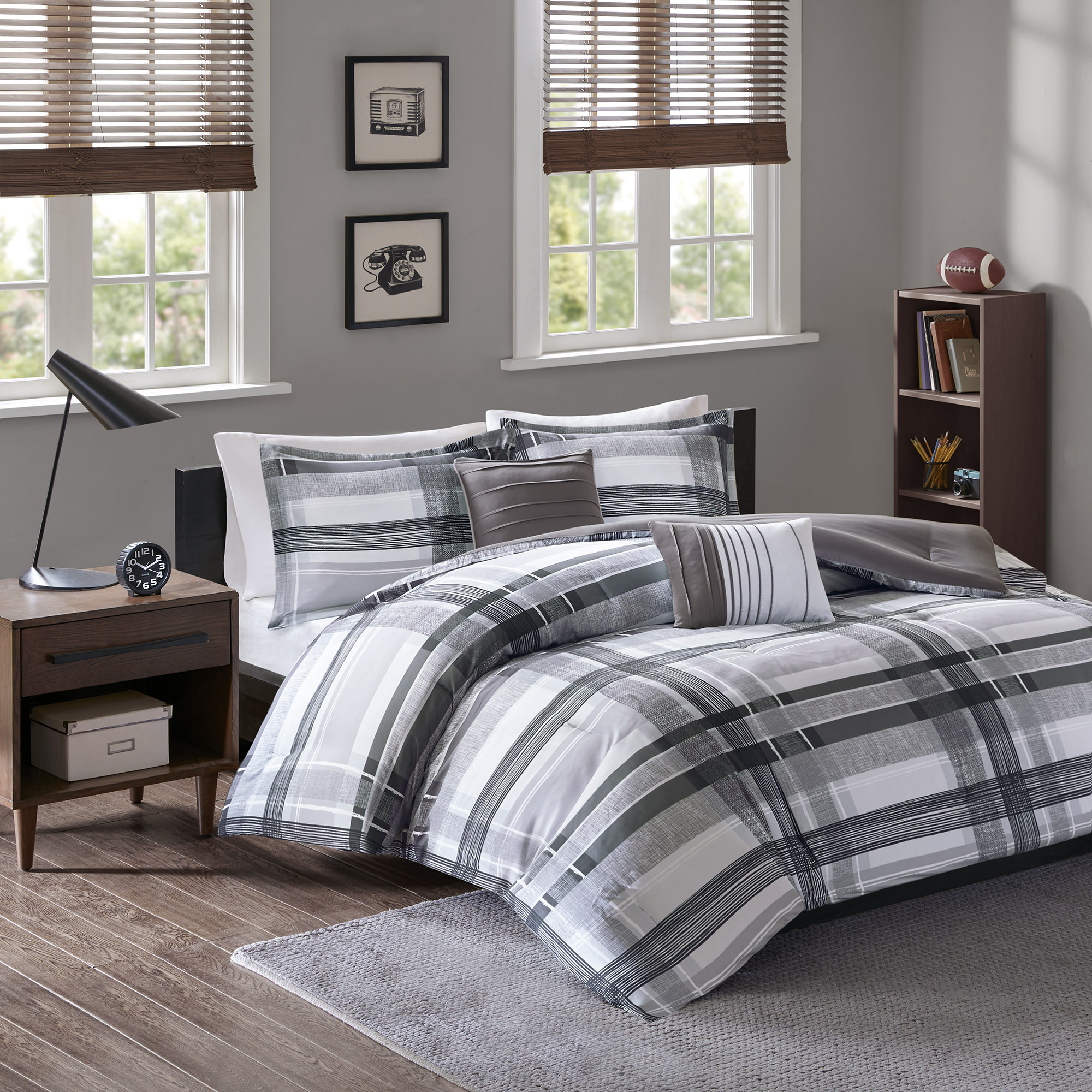 Home Essence Apartment Slate Super Soft Plaid Comforter Set