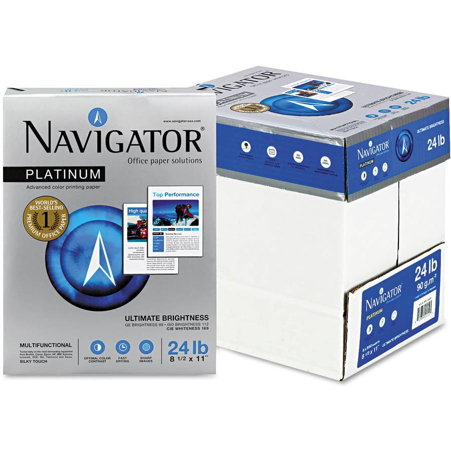 Navigator Platinum Paper, 99 Brightness, 24lb, 8-1/2 x 11, 2500/Carton