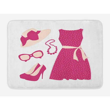 Colored Heel - Fashion Bath Mat, Pastel Colored Dress Hat with a Ribbon High Heels and Necklace Woman Clothing, Non-Slip Plush Mat Bathroom Kitchen Laundry Room Decor, 29.5 X 17.5 Inches, Pale Peach Pink, Ambesonne