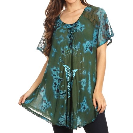 Sakkas Mayar Womens Tie-dye Short Sleeve Everyday Top Blouse with Lace & Corset - Green - One Size Regular