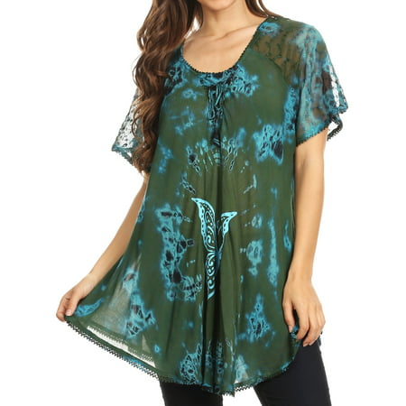 Sakkas Mayar Womens Tie-dye Short Sleeve Everyday Top Blouse with Lace & Corset - Green - One Size Regular - Green Muscle Suit