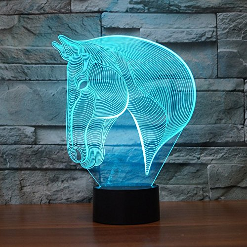 3D Illusion LED Night Light, 7 Colors Gradual Changing Touch Switch USB Table Lamp for Kids Gift or Home Decorations (Horse Head)