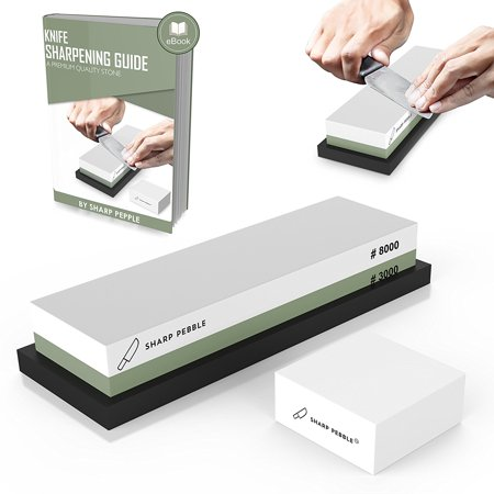 Premium Sharpening Stone 2 Side Grit 3000/8000 Whetstone | Best Kitchen Knife Sharpener Waterstone with NonSlip Rubber Base & Flattening