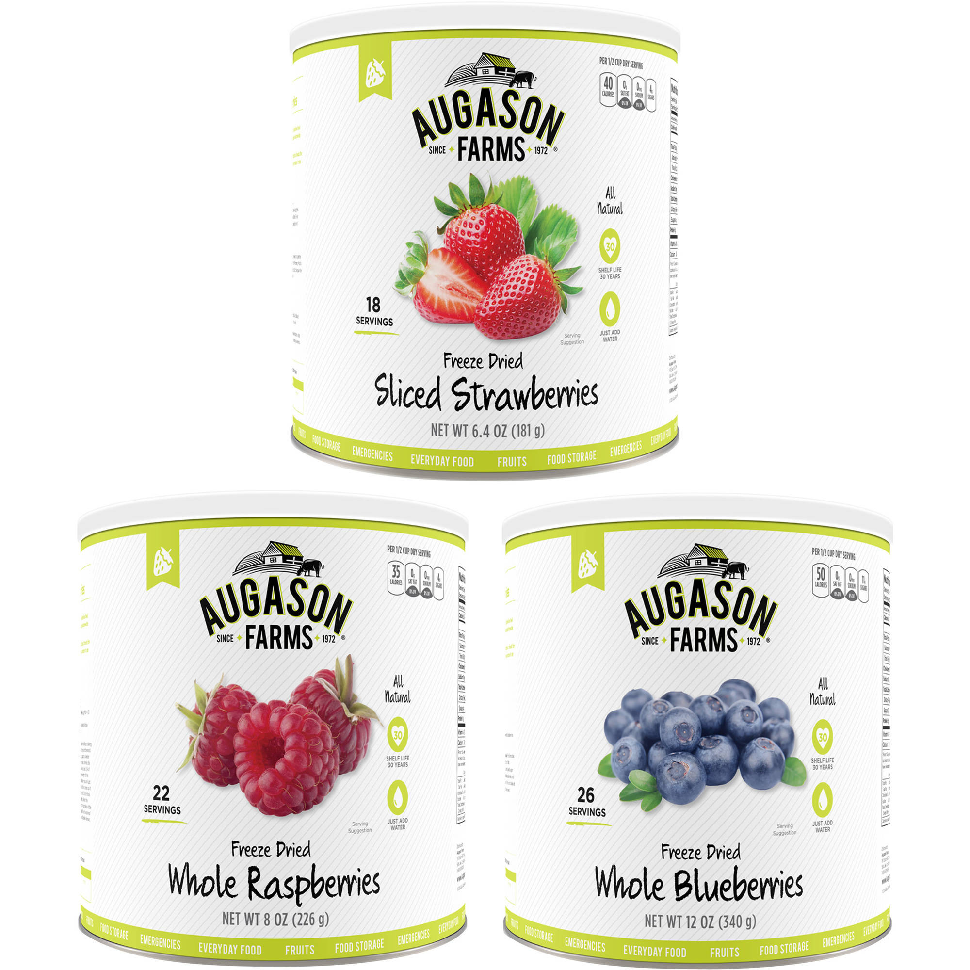 Click here to buy Augason Farms Freeze Dried Berries Variety Kit, 3 pc by Blue Chip Group.