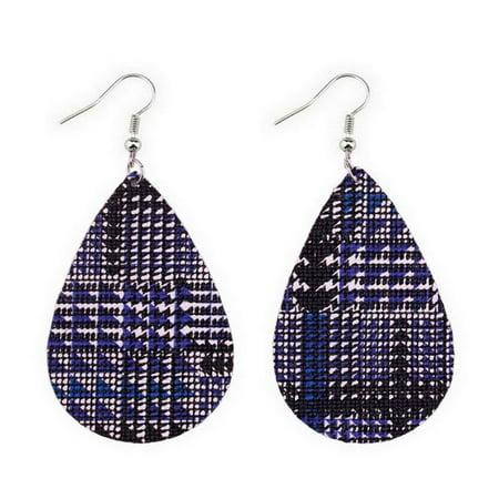 Double Teardrop Earrings - Women Lightweight Textured Double Sided Leather Teardrop Dangle Earrings (Blue)