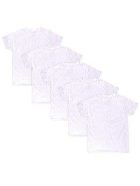 Hanes Boys Undershirt, 5 Pack Tagless EcoSmart White Crew Undershirts, 5 Pack (Little Boys & Big Boys)