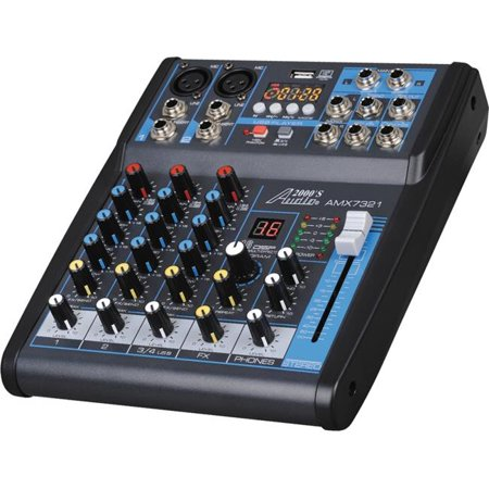 AUDIO2000S AMX7321 Professional Four-Channel Audio Mixer With USB Interface, Bluetooth (Interface Audio Professional)