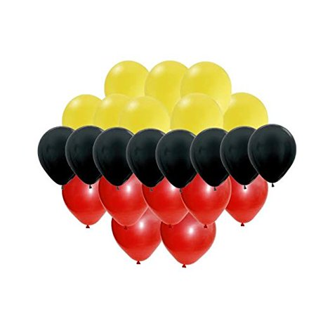 Mickey Mouse Colors Party Balloon Set - Red, Yellow, Black (Mickey Mouse Shaped Balloons)