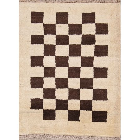 Checked 3x4 Wool Zollanvari Gabbeh Oriental Area Rug Hand