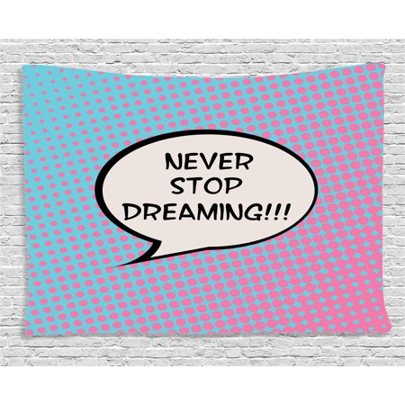 Quotes Decor Tapestry Retro Dreaming Pop Art Thinking Bubble Ombre