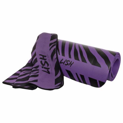 LISH Purple Zebra Print Foam Nonslip Pilates Yoga Mat & Microfiber Mat Towel NEW