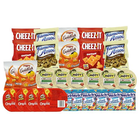 Healthy Snacks and Junk Food for Kids after School or for Lunch Box (28  Count) Variety Pack with Cookies, Goldfish, Pringles Chips, Crackers