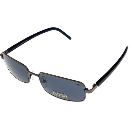 Lozza Sunglasses Unisex SL1494 568K Navy Blue Rutheium Rectangular Size: Lens/ Bridge/ Temple: 57-17-135