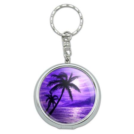 Sunset Beach Palm Tree Hawaii Paradise Purple Portable Ashtray Keychain