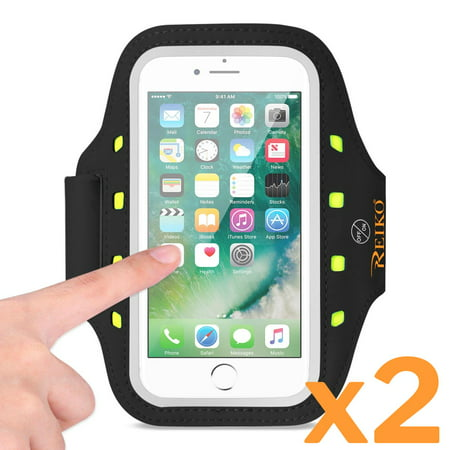2 X Running Sports Armband For Iphone 7/ 6/ 6s Or 5 Inches Device With Led In Black (5x5 Inches) 2-pack! thumbnail
