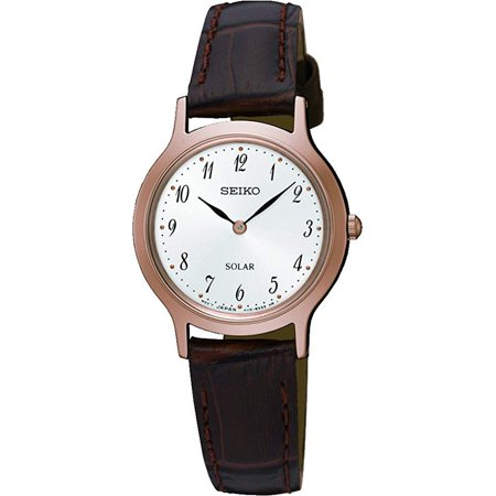 SUP372P1,Ladies Solar Quartz,Rose Gold tone,Stainless steel Case,Leather Strap,30m WR,SUP372 ()