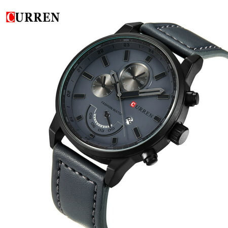 CURREN New Brand Fashion Quartz Men Watch PU Leather W/ Calendar 3ATM Water-resistant Man Casual Wristwatch Calendar Quartz Wrist Watch