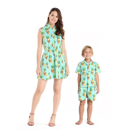 Matching Mother Son Hawaiian Luau Outfit Women Shirt Dress Boy Shirt Shorts Halloween Pineapple Skull S-4