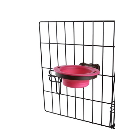 Popware for Pets Pivot Collapsible Kennel Cup, Small, Pink, Item measures: 6.125 x 7.125 x 1.47 inches By Dexas