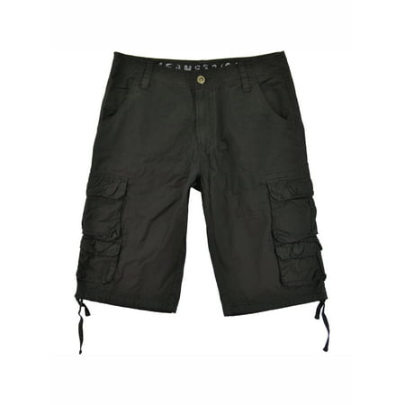 Mens Military Cargo Shorts 818s-Black Size -