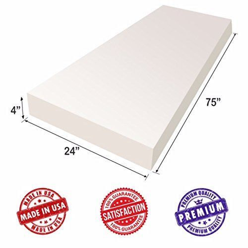 "Upholstery Foam Cushion Sheet- 4""x24""x75""-High Density Support-Premium Luxury Quality- Good for Sofa Cushion, Mattresses, Wheelchair, Poker Table, and Much More- by Dream Solutions USA"