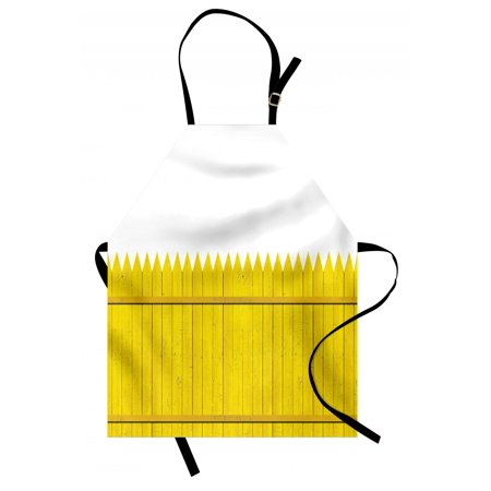 Yellow Apron Colorful Wooden Picket Fence Design Suburban Community Rural Parts of Country, Unisex Kitchen Bib Apron with Adjustable Neck for Cooking Baking Gardening, Yellow Mustard, by Ambesonne (Suburban Community)
