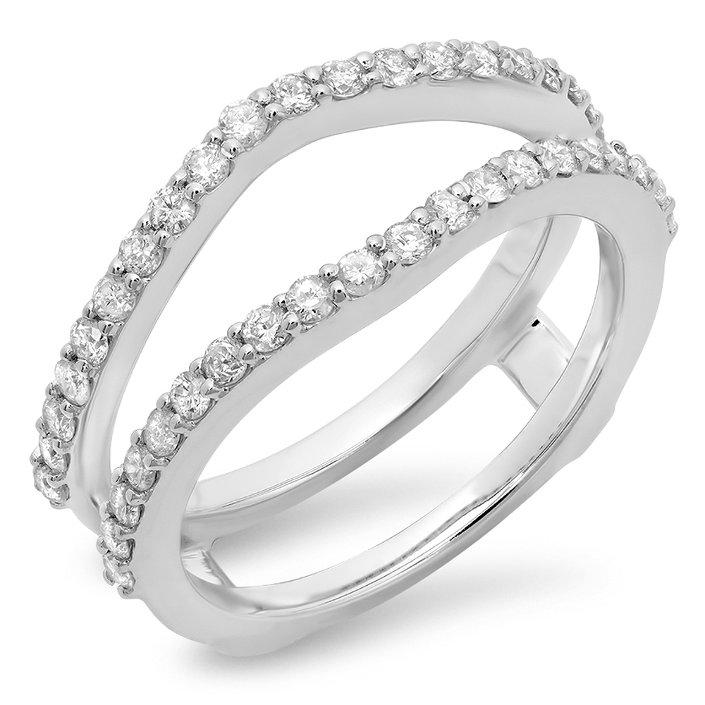 0.50 Carat (ctw) 10K Gold Round Diamond Wedding Band Enhancer Guard Double Ring 1/2 CT