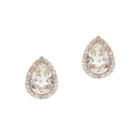 Wedding Earrings Oval Shape Rose Gold Stud Earrings