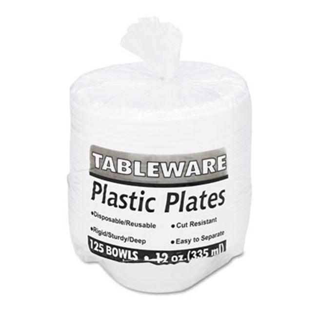 Tablemate 12244WH Plastic Dinnerware Bowls 12 Ounces White ...