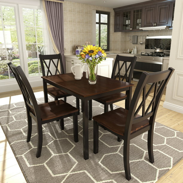 Dining Set Kitchen Table with 4 Pieces Chairs, Smooth Surface Wood Dinette Set, Solid Acacia Wood Rectangular Breakfast Table with Solid Wood Legs for Dining Room, Living Room, Kitchen, Black, S8057