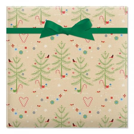Twinkling Trees Rolled Gift Wrap (72 sq. ft. of Christmas wrap)