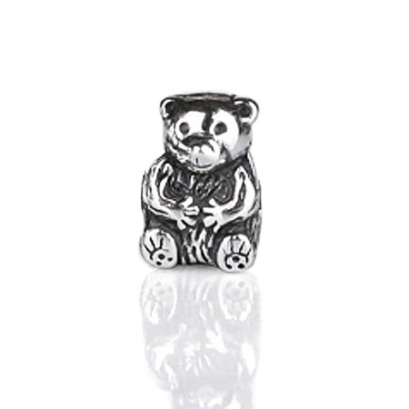 Cute Teddy Bear Charm Bead For Women For Teen Oxidized 925 Sterling Silver Fits European (Oxidized Bead Design)