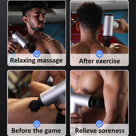 Massage Gun Deep Tissue Muscle Therapy Percussion Massager Vibrating Relaxing-Black/red/silver - image 12 of 15
