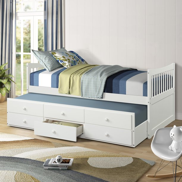 Twin Captain Bed with Trundle Bed and Drawers, Heavy Duty Modern