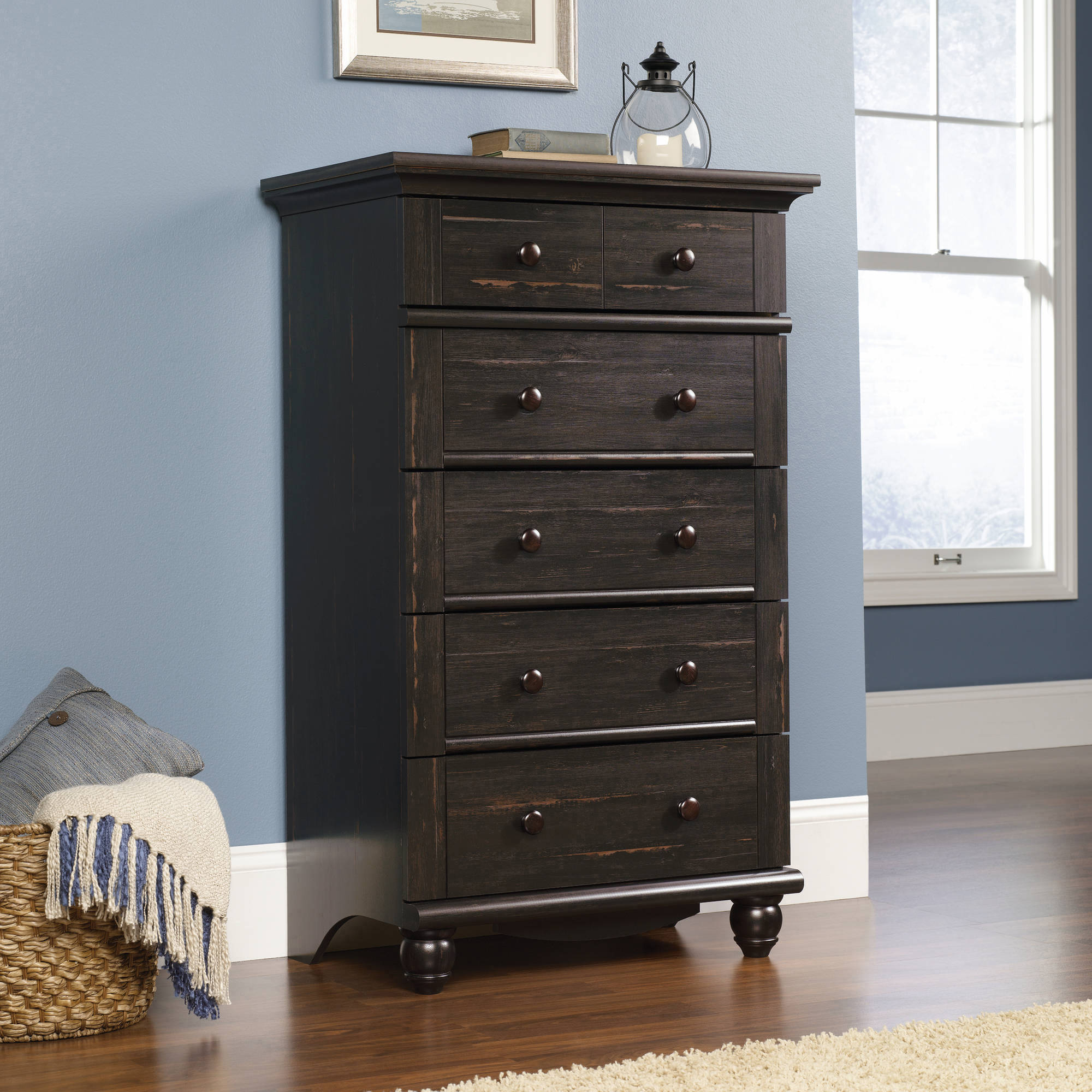 Sauder Harbor View Collection 5-Drawer Dresser, Antiqued Paint
