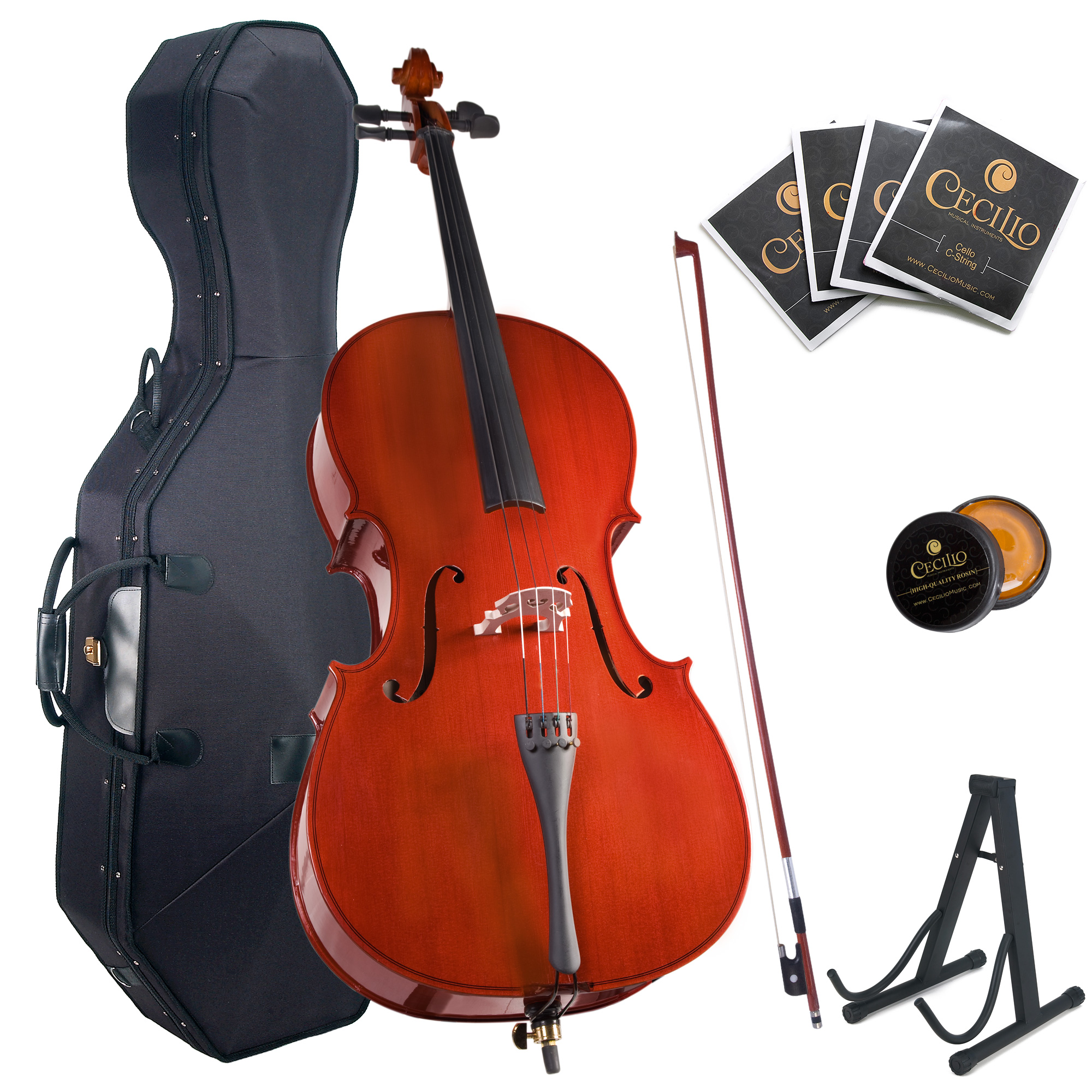Cecilio Full Size 4 4 CCO-100 Student Cello with Hard & Soft Case, Stand, Extra Set... by Cecilio Musical Instruments