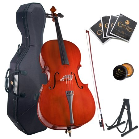- Cecilio Full Size 4/4 CCO-100 Student Cello with Hard & Soft Case, Stand, Extra Set Strings, Bow, Rosin, Bridge & 1 Year Warranty
