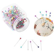 Kritne Sewing Pins, 500Pcs Beads Needles Quilting Pins in Orange Fabric Covered Pin Cushion Bottle Sewing Craft, Needles Pin Cushion