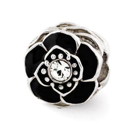 Enamel Sterling Silver Flower Beads - Sterling Silver, Black Enamel & Crystal Antiqued Flower Bead Charm