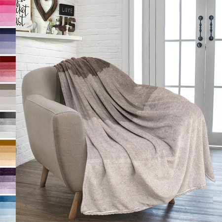 PAVILIA Flannel Fleece Ombre Throw Blanket for Couch | Super Soft Cozy Microfiber Couch Blanket | Gradient Decorative Accent Throw | All Season, 50x60 (Best Natural Fiber Blanket)