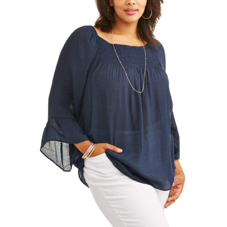 Lifestyle Atttitude Women's Plus Ruffle Sleeve Trim Blouse