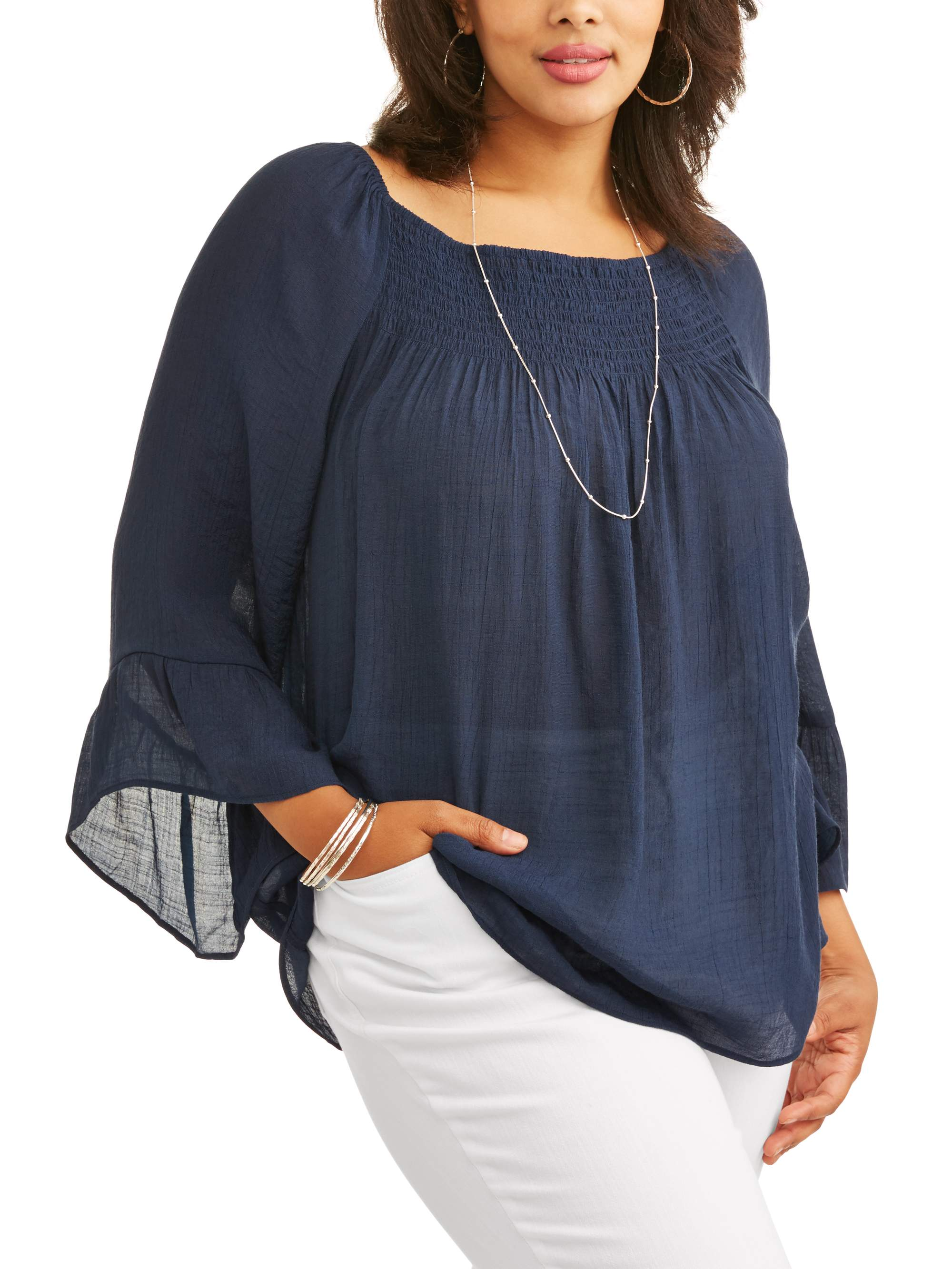 Women's Plus Size Ruffle Sleeve Trim Blouse