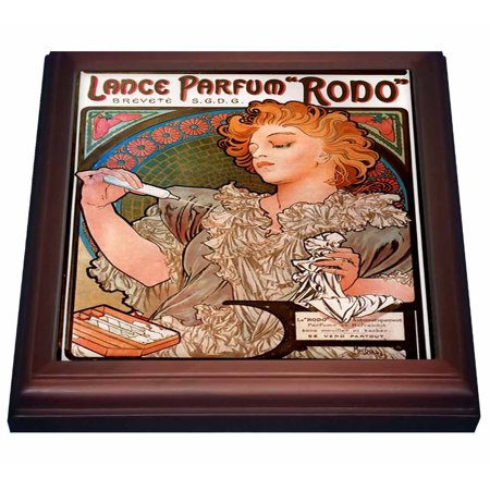 3dRose Print of Muchas French Perfume Ad, Trivet with Ceramic Tile, 8 by 8-inch