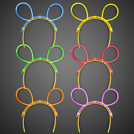 FlashingBlinkyLights Premium Glow Mouse Ears Headbands in Assorted Colors