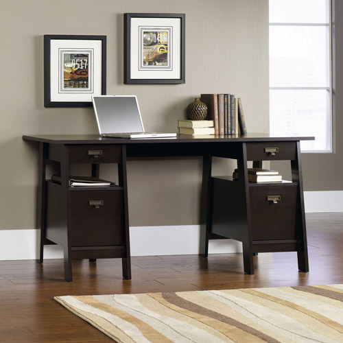 Sauder Stockbridge Executive Trestle Desk, Jamocha Wood