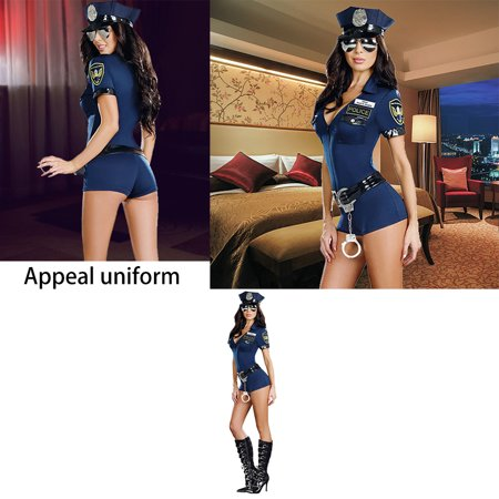 Women Sexy Police Costume Officer Copsplay Uniform Outfit for Adult Halloween Masquerade