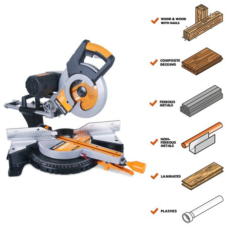 """Evolution Power Tools 10"""" Multi-material Double Bevel Compound Sliding Miter Saw, RAGE3DB"""