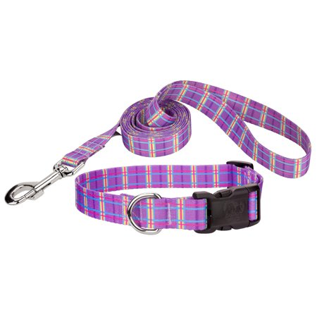 Country Brook Petz® Deluxe Grape Plaid Deluxe Collar & Leash